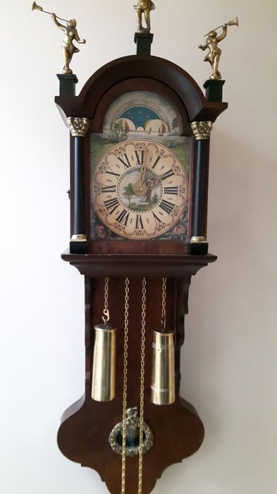 Frisian office tail clock with month phase Wuba walnut - second half 20 century Netherlands