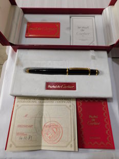 Cartier Diabolo Ballpoint Pen with Case for Pasha Fountain Pen