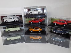 De Agostini - Scale 1/43 - Lot with 10 Volkswagens: Kever, T1, Karman Ghia & Golf