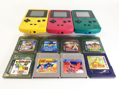 3 Nintendo Game Boy Color Console with 8 Games Cartridge