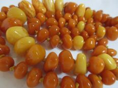 Antique egg yolk 100% natural untreated Baltic Amber necklace, ca. 47 gr not pressed,  not modified
