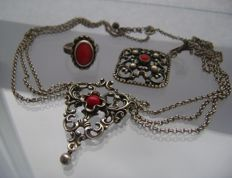Old silver German/Austrian coral jewelry lot - ca. 1920-1940  ***no reserve price****