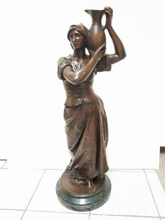 Jean Gautherin (1840-1890) - large bronze sculpture of a standing woman with water jug - France - late 19th century