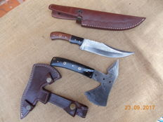 Damascus Steel Tomahawk and Knife