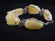Sterling Silver & Baltic Amber bracelet  Total weight 46,45 grams Lenght 200mm