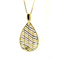 Necklace and droplet pendant with polished effect in 18 kt gold ***No Reserve***