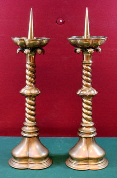 Pair of large bronze Baroque style church candlesticks with lobbed foot, the Netherlands, 19th century