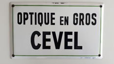 Enamel sign - Optique and Gris Cevel - circa 1940, De Samblanx Brux.