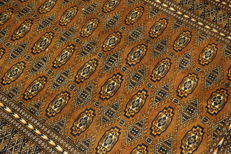 Magnificent handwoven oriental carpet Bukhara Jomut 145 x 210 cm Made in Pakistan in the middle of the 20th century