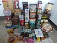 Collection of 61 various old and present tins. Including Disney, Douwe Egberts, M J Hummel, Marilyn Monroe and more