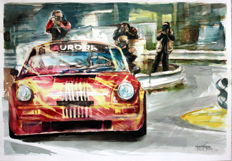 Porsche - Race Cars Watercolour - Gilberto Gaspar - 50 x 25 cm