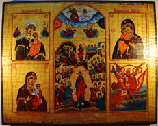 Russian orthodox iсon,  Five-part icon with a crucifix , hand painted, tempera, wood.