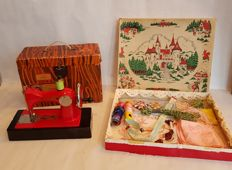 Very Collectable USSR Toy Sewing Machine (1) in Good working Condition incl. small parts (2) and Rare French Handkerchief Embroidery set (3) - 1 & 3 in original Boxes
