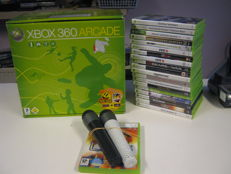 Xbox360 boxed -120gb -  including  controller , 2 microfoons and 20 games.
