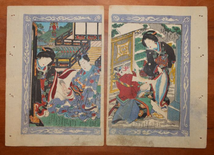Two original erotic shunga prints attributed to Koikawa Shozan (1831-1907) - Japan - ca. 1850