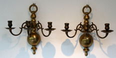 Beautiful three-arm wall candle Sconce-copper/brass.