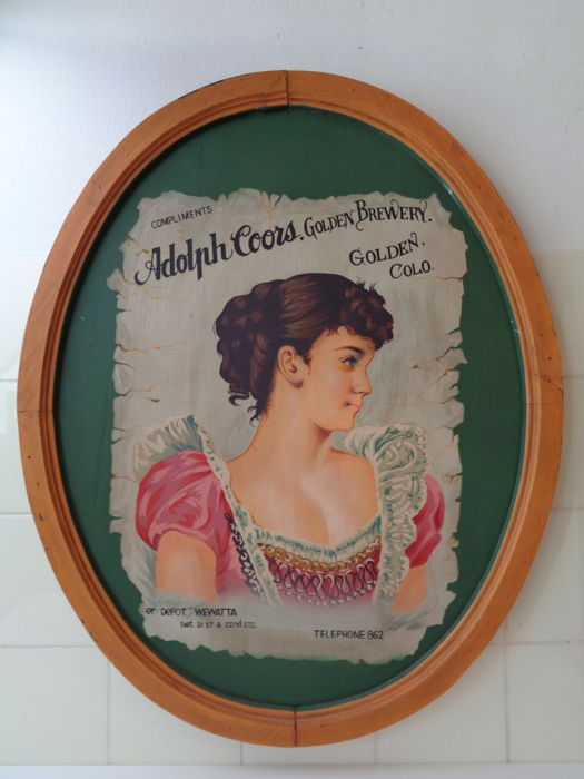 Wooden advertising sign - Adolph Coors, Golden Brewery - First half 20th century