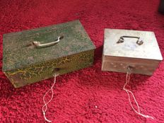 2 old money boxes