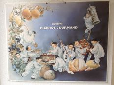 Authentic publicity Bonbons Pierrot Gourmand (ca. 1900) - Chromolitography advertisement (57.5 x 45 cm) carton