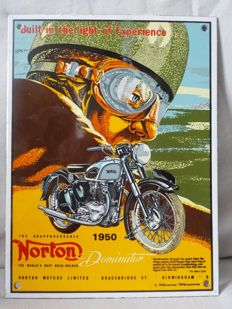Rare enamelled advertising sign of the model 7 Dominator of Norton 1950.
