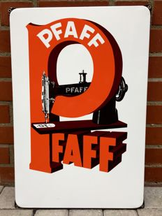 Original enamel advertising sign - Pfaff Sewing machines - from the 50s
