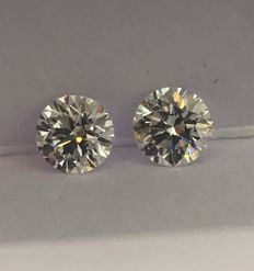 Pair - Round Brilliant Diamonds 1.30ct total D IF 3EX  GIA  - Low Reserve Price - # WD2280-WD2281