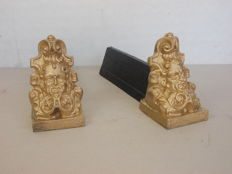 Antique pair of cast iron golden andirons - English - 1900