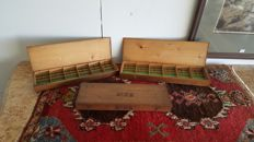 3 wooden boxes with compartments
