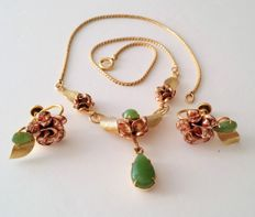 Signed Uncas gold filled Jade set of choker and earrings, 1950's