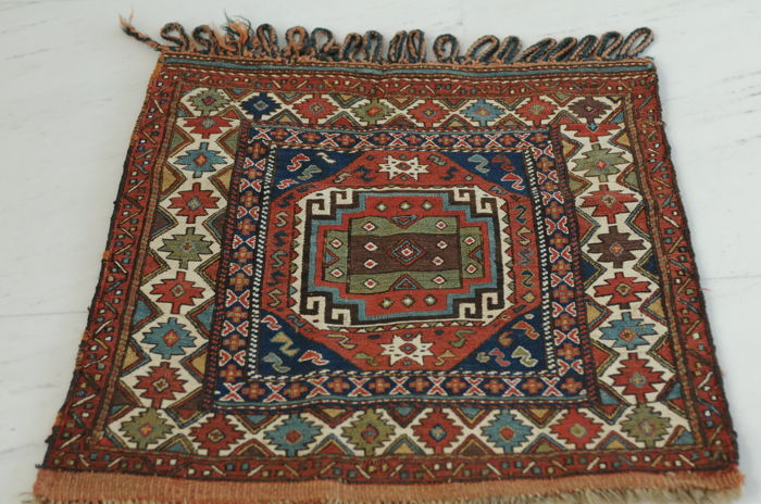 Exceptional Schahsavan front of a bag, antique! ca.60 x 60 cm