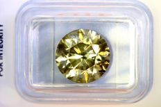""" Rare & Big Size "" Fancy INTENSE Yellowish GREEN –  5.52 ct – SI2 – * NO RESERVE PRICE *"