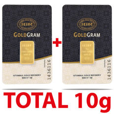 5+5 g, 2 pieces of 5 g sealed 24 Ct Fine Gold Bars,