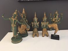 Five temple guards - Thailand - late 20th century
