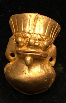 A South American Tumbaga Gold, Colombia,  Tairona figure   38 x 15 x 23 mm , 12,5  grams, A pendant of a shaman amulet