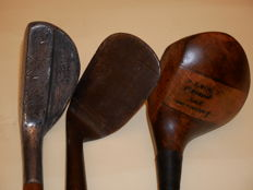 Rare Collectables St Andrews Hickory Driver +Dreadnought Niblick + Mills aluminium putter