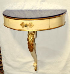 Original one leg console table, in gold leaf gilt and painted solid wood, with central drawer and a deep blue glass top surface - France, ca. 1900