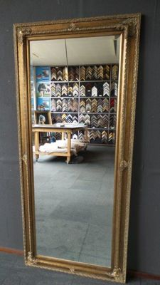 Huge mirror with facet cut glass - 82x182cm - Baroque