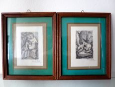 Graphic art; Lot with 2 framed etchings by Paul-Émile Bécat - 1st half 20th century