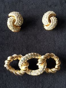 Vintage Christian Dior Jeweled Brooch and Ear clip set.