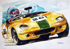 Lotus Elan - Race Cars Watercolor - 50 x 25 cm - by Gilberto Gaspar