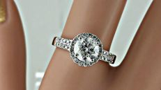 1.41 ct  round diamond ring made of 14 kt white gold - size 7,5