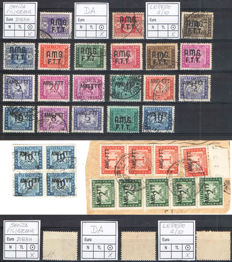 Trieste, 1947/1954 – AMG-FTT postage due, lot of stamps with varieties including 5 lire, violet, without watermark.