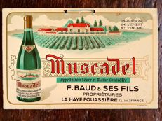 Old metal advertising sign - Muscadet - France - 1950