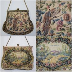 2 evening bags in petit point, first quarter 20th century