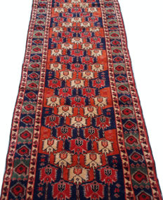 Antique Rassian Bokhara Hand Knotted Carpet Runner Area Rug 247 cm x 79 cm
