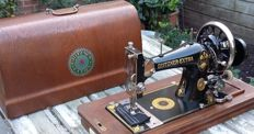 Antique Gritzner manual sewing machine with original dust cover, Germany, 1927