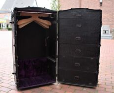 Rare artist /performer suitcase, circa 1900 Heavy and rollaway