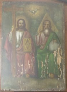 Russian icon (early 20th) - The Holy Trinity (34,8 x 25)