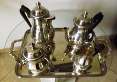 "5-piece coffee serving set, silver plated metal, hallmarked ""sfam"""