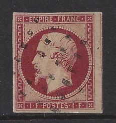 France 1853 - 1 Franc Carmine, Type Napoleon, Empire Franc. - Yvert 18a with Certificate
